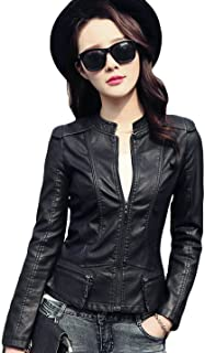 Tanming Women's Zip Up Faux Leather Moto Biker Jacket