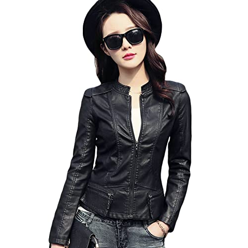 977e249a1f5 Tanming Women's Zip up Faux Leather Moto Biker Jacket