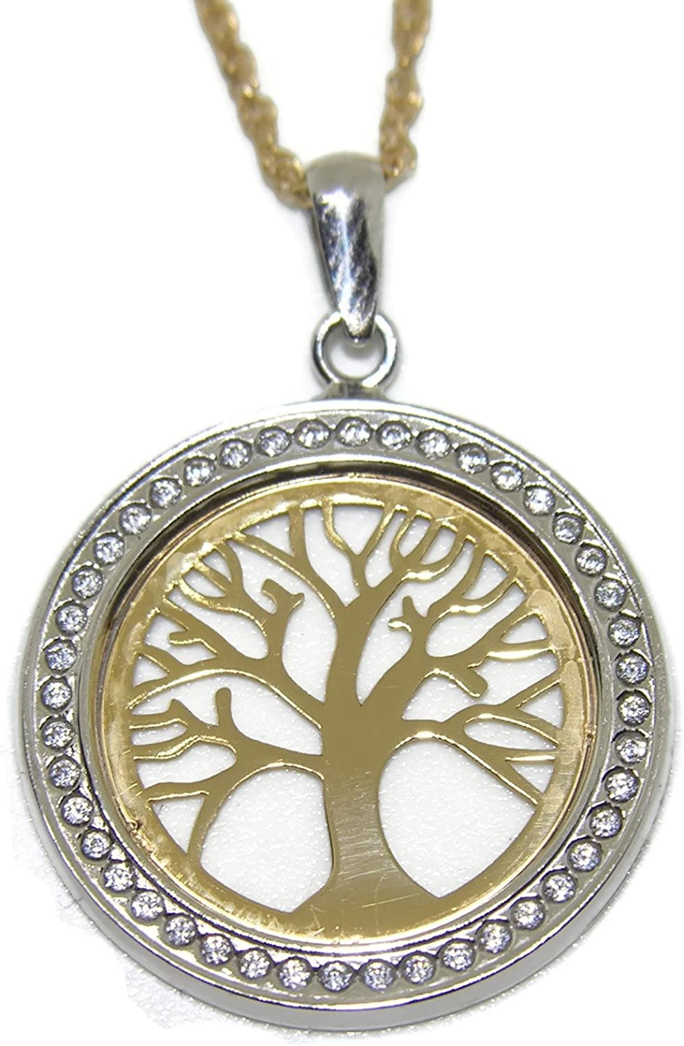 Tree of Life Online limited product Hanging Charm Necklace Yellow Ital 18K Gold White New item
