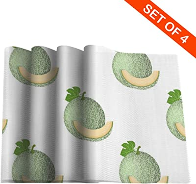 Amazon Com Hxjiuli Fresh Whole Cut Slice Melon Placemats Non Slip Stain Heat Resistant Desktop Decoration 12 X 18 Table Mat Set Of 4 For Dining Home Kitchen Indoor Home Kitchen