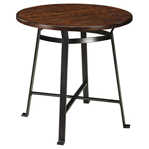 Signature Design by Ashley - Challiman Dining Room Bar Table - Pub Height - Round - Rustic Brown