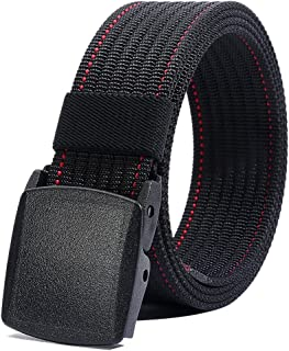 Nylon Belt for Men, Military Tactical Belt with YKK Plastic Buckle, Durable Breathable Waist Belt for Work Outdoor Cycling...