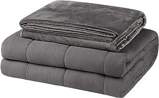 EUGAD Gewichtsdecke für Erwachsene, Therapiedecke mit abnehmbaren Warm Mikrofaser-Bezüge, Grau 7kg Schwere Decke 150x200cm - 100% Baumwolle mit Glasperlen, Anti Stress und für besseren Schlaf