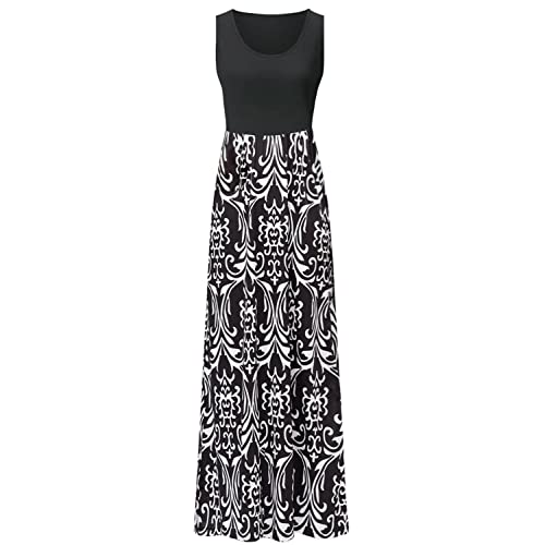 613b7541b7cd Zattcas Womens Summer Contrast Sleeveless Tank Top Floral Print Maxi Dress