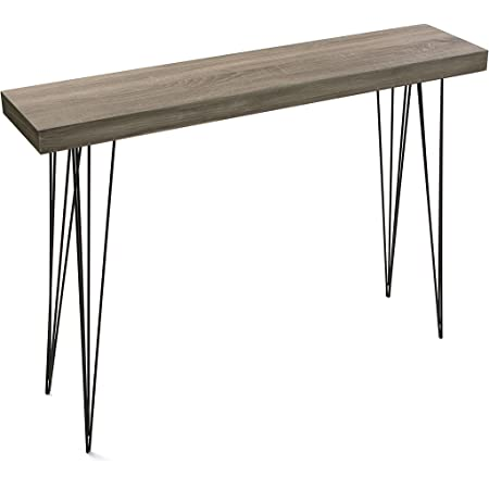 Versa Dallas Meuble d'Entrée Étroit pour l'Entrée ou Couloir, Table Console, Dimensions (H x l x L) 80 x 25 x 110 cm, Bois et métal, Couleur Marron