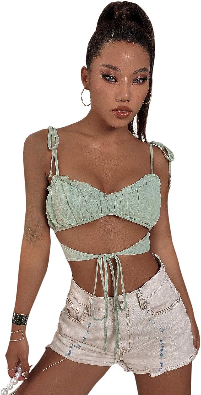 Floerns Women's Casual Tie Shoulder Spaghetti Strap Cut Out Crop Cami Top