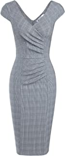 MUXXN Women's Retro 1950's Style V Neck Ruched Sheath Pencil Dress