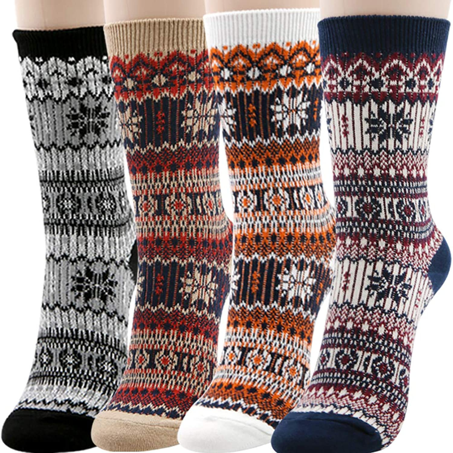 34 Pairs Warm Winter Jacquard Socks for Womens Vintage Style Fall and Winter Warm Thick Knit Cozy Crew Socks