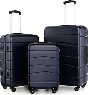 LONG VACATION Luggage 3 Piece Set Suitcase ABS Hardshell with Spinner Wheels and TSA Lock 20in 24in 28in (Navy)