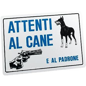 CARTELLO ATTENTI AL CANE E AL PADRONE 20X30 ATTENZIONE TARGA SEGNALE SEGNALETICA 171098