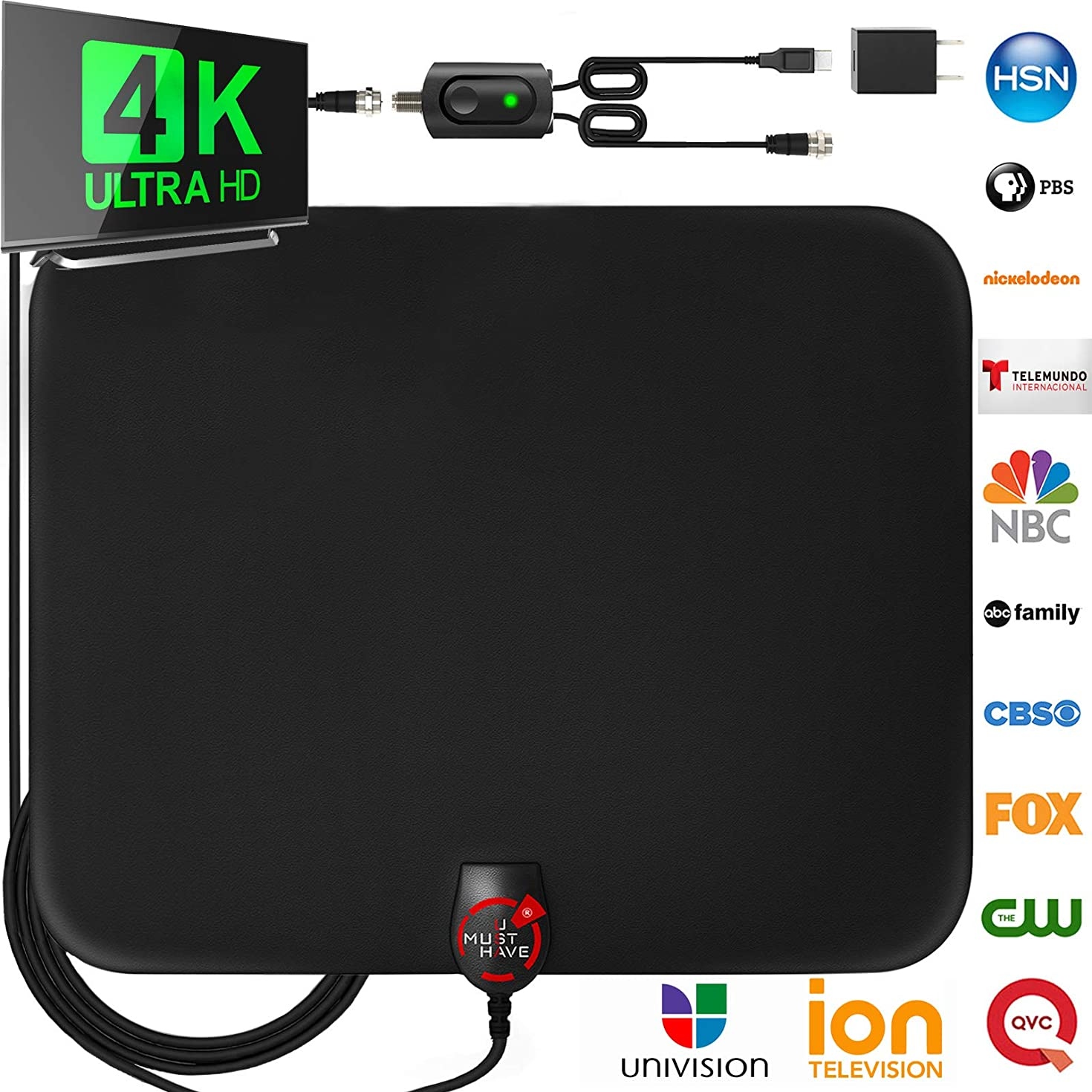 [Upgraded 2019] Amplified HD Digital TV Antenna Long 140 Miles Range – Support 4K 1080p and All Older TV's Indoor Powerful HDTV Amplifier Signal Booster - 18ft Coax Cable/USB Power Adapter