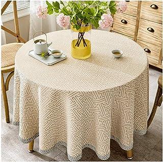 Gamvdout Élégant et Simple Nappe Ronde de Coton et de Lin de Style Pastoral américain Table de Table Table de Table de mén...
