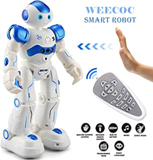 WEECOC/ Smart Robot Toys Gesture Control Remote Control Robot Rc Robot Gift for Boys Girls Kid`s Can Singing Dancing (Blue)