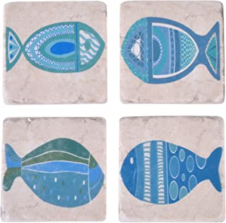 NIKKY HOME Fish Decorative Square Resin Absorbent Coasters for Drinks, 4