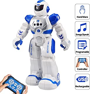 Samate Remote Control RC Robots for Childrens,Interactive Singing Walking Dancing Smart Programmable Robotics,LED Eyes,Gesture Sensing Robot Kit for Kids Entertainment (Blue) (Blue)