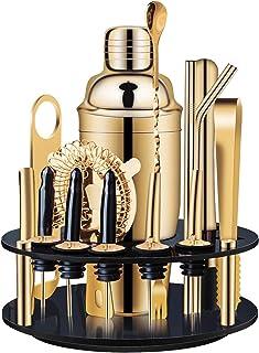 X-cosrack 18-Piece Bar Set,Gold Cocktail Shaker Set for...
