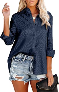 Astylish Womens V Neck Satin Embossed Roll up Sleeve Button Down Blouses Top