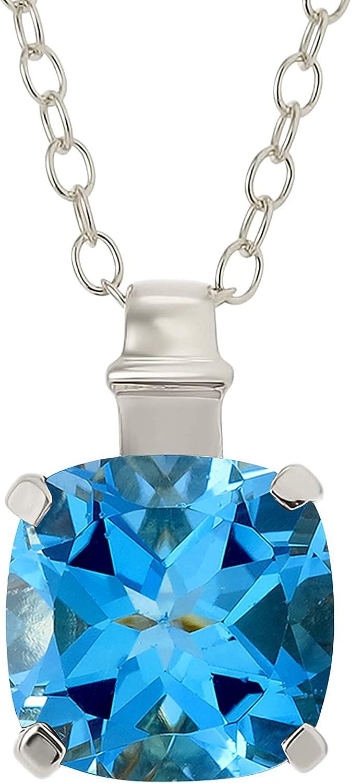 BIRTHSTONE .925 Sterling Silver Natural Ranking Dedication TOP14 Square Cushion-Cut Gemst