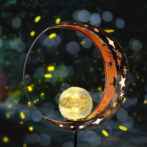Fertgo Garden Solar Light Outdoor Decorative, Moon Decor, Crackle Glass Ball Metal Garden Stake Light for Pathway, La...