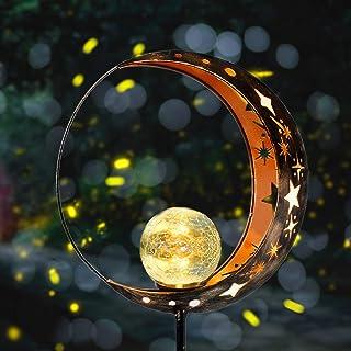 Fertgo Garden Solar Light Outdoor Decorative, Moon Decor, Crackle Glass Ball Metal Garden Stake Light for Pathway, Lawn, P...