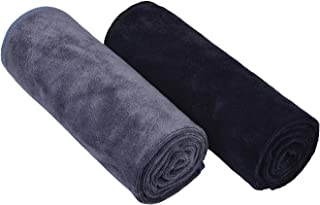 HOPESHINE Home Gyms Towel for Men Women Microfiber Gym Towels Cycling Workout Sweat Towel Set Quick Dry Exercise Sports Travel Towel Fast Drying 2-Pack (Black + Grey)