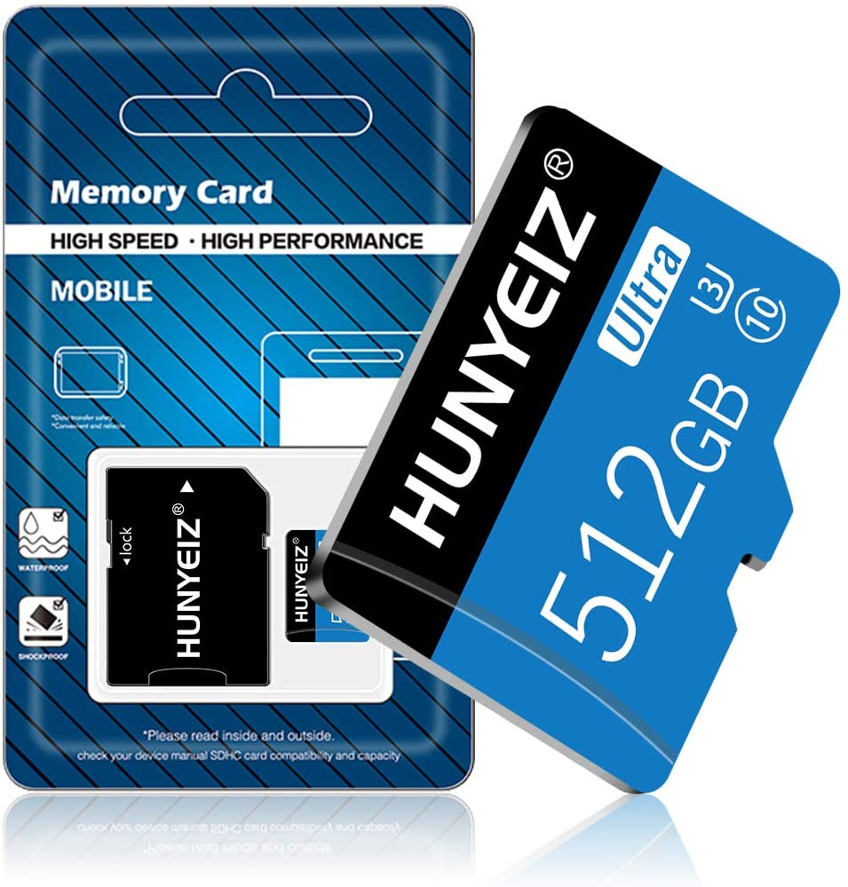 Micro SD Card 512GB High Speed SD Card TF Card Class 10 Memory Card with Adapter for Cellphone Surveillance Camera Tachograph Tablet Computers