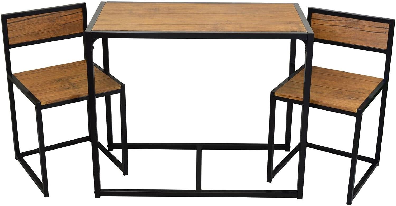 Harbour Housewares Platzsparender und kompakter Küchen-Esstisch und Stühle-Set für 2 Personen