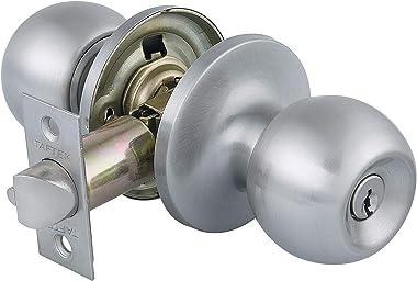 Taftek AMK101 Ball Entry Door Knob Door knobs with Lock and Key Door Lock in Satin Nickel
