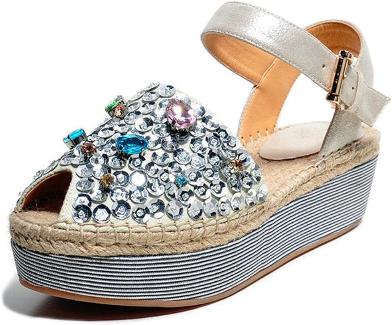 DANDANJIE DANDANJIE DANDANJIE Damen Sandalen Roman Boho Style Strass Stroh Schuh Keilabsatz Sandalen für Casual Walking (Farbe   ONE Farbe, Größe   37)  1bb1e4