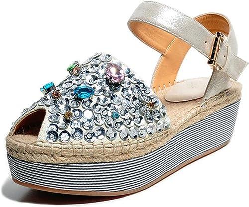 Sandalias para damen Roman Boho Style Rhinestones Straw schuhe Wedge Sandalias de Tacón para Caminar Informal