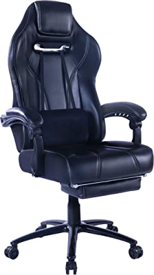 Healgen Racing Style Gaming Chair with Footrest E-Sports Height Back Ergonomic Computer Chair PU Leather Office Chair with Adjustable Pillow and Padded Headrest