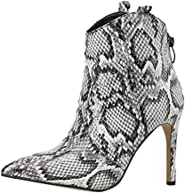 Womens Snake Printed Ankle Boots Fashionable Zipper Pointed Toe Silp on Sexy Booties Shoes for Girls US Size 5.5-8.5
