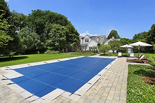 20 X40 Mesh CES Rectangle Inground Safety Pool Cover 20 Ft X 40 Ft In Ground Winter Cover With 4 X8 Center End Steps Blue