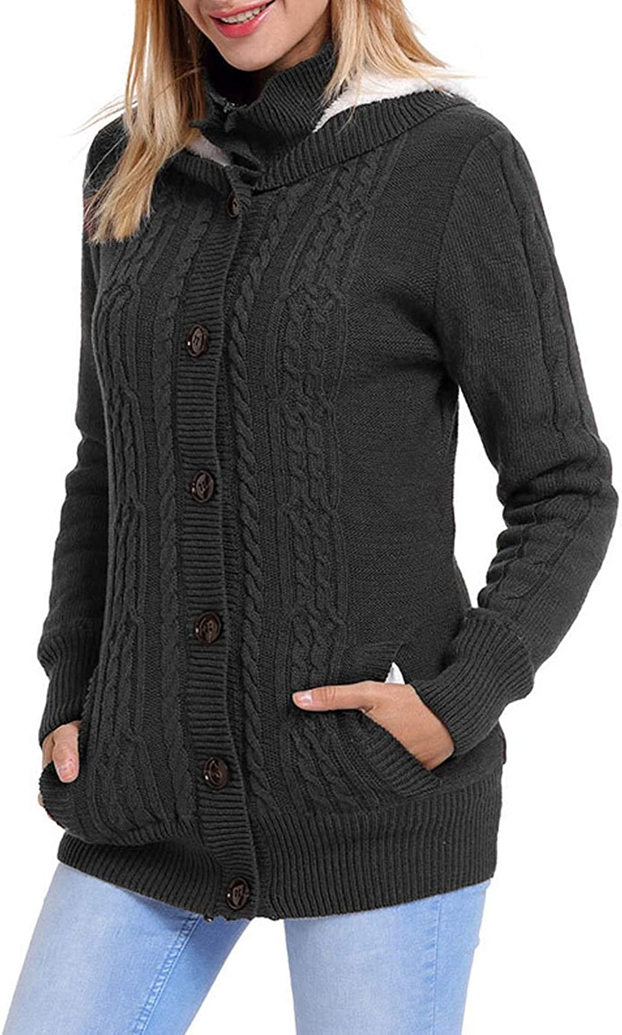 Carriemeow Women's Hooded Long Sleeve Solid Button Fleece Lined Knit Cardigan Coat