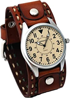 Nemesis #LBDT095V Men's Wide Brown Leather Cuff Band with Stitching Easy Reader Watch