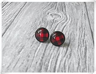Buffalo plaid earrings, lumberjack, red and black plaid stud earrings, gift idea for her
