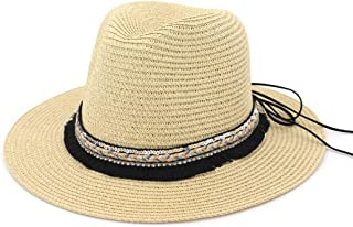 Hats Outdoor Sport Hats Unisex Straw Sun Hat Wide Brim Floppy Hat Beach Cap Fashion (Color : Beige, Size : Adjustable)