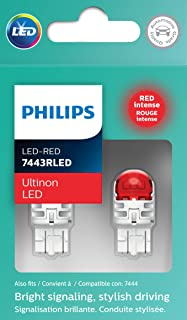 Philips 7443RLED Ultinon LED Bulb (Red), 2 Pack