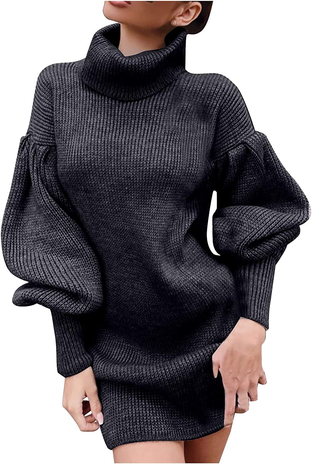 VEKDONE Women Loose Oversized Cable Knit Turtleneck Sweater Dress Winter Warm Baggy Long Pullover Bodycon Sweaters