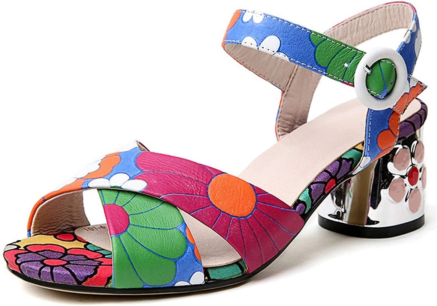 Women's High Heels shoes Prints Cross-Tied Sandals Ladies Ankle Strappy Heels 5.5 cm Fashion shoes