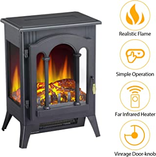 Antratic Star Stove Electric Fireplace freestanding, 1000/1500w Portable Indoor Electric Fireplace Stove with Realistic 3D Flames(Black) (5220)