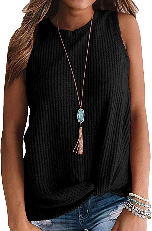 WNEEDU Womens Casual Tops Round Neck Sleeveless Waffle Knit Twist Knot Shirts Tank Tops