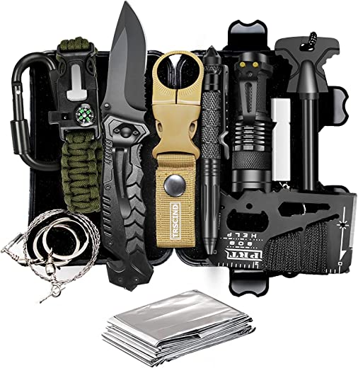 TRSCIND Compact 11-in-1 Survival Gear Kits with Paracord Bracelet, Multi-Purpose EDC Outdoor Emergency Tools and Everyday Carry Gear, Official Survival Kit