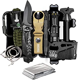 TRSCIND Compact 11-in-1 Survival Gear Kits with Paracord Bracelet, Multi-Purpose EDC Outdoor Emergency Tools and Everyday ...