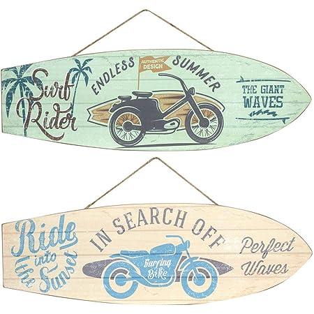 CAPRILO Set de 2 Adornos Pared Decorativos de Madera Tablas Surf Motocicletas. Cuadros y Apliques. Decoración Hogar. Regalos Originales. 20 x 60 x 1 cm.