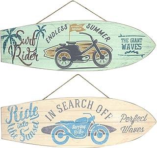 CAPRILO Set de 2 Adornos Pared Decorativos de Madera Tablas Surf Motocicletas. Cuadros y Apliques. Decoración Hogar. Regal...