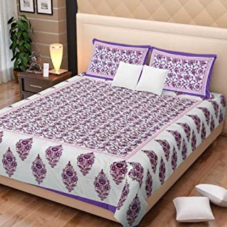 traditional mafia Floral Vine Printed Double Bed Sheet Set with 2 Pillow Covers, King, Purple/Pink