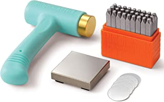 ImpressArt Metal Stamping Kit for Jewelry Making - Basic Uppercase Alphabet (3MM) Metal Stamps Set, Ergo-Angle Hammer, Steel Bench Block, Stamping Blanks