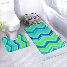 Bath Rug Set 2 Piece BathroomZigzag in Aqua Blue Mat Sets Non Slip Microfiber Bath Shower Mat U-Shaped Toilet Rug Combo Se...