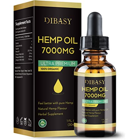 Organic Hemp Oil 7000MG - Plant Extracted Organic Essential Oil 30ml Natural Hemp Seed Oil for Pain Relief, Stress, Anxiety, Sleep (1 FL.OZ.)